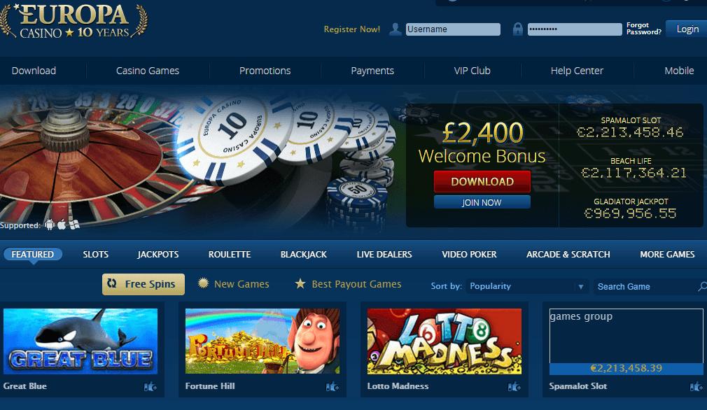 европа казино мобильная версия